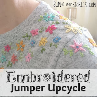 Embroidered Jumper Upcycle, a featured post at Encouraging Hearts and Home right here @ Scratch Made Food!