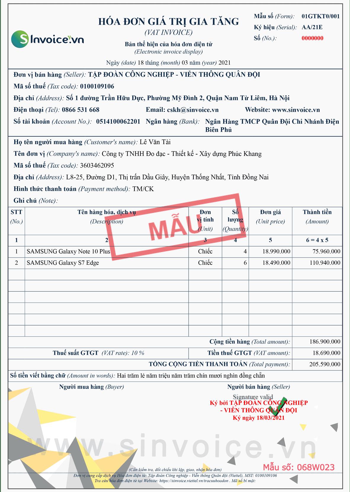 Mẫu hóa đơn điện tử số 068W023