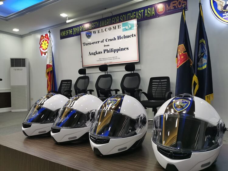 Turn-over of crash helmets from Angkas Philippines
