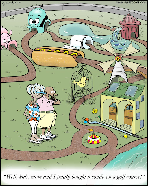 """A putt-putt golf course with the course running through a toy fire hydrant, a giant hotdog, a sculpture of a roll of toilet paper, a pig, a big blue head, and a tiny condominium building. two miniature lakes and a tiny grassy meadow. a bald man and white-haired woman stand on the grass smiling at the tiny building. the man says into a cellphone, """"Well, kids, mom and i finally bought a condo on a golf course!"""""""