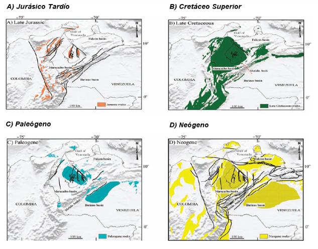 Cuenca del Lago de Maracaibo distribución de afloramientos