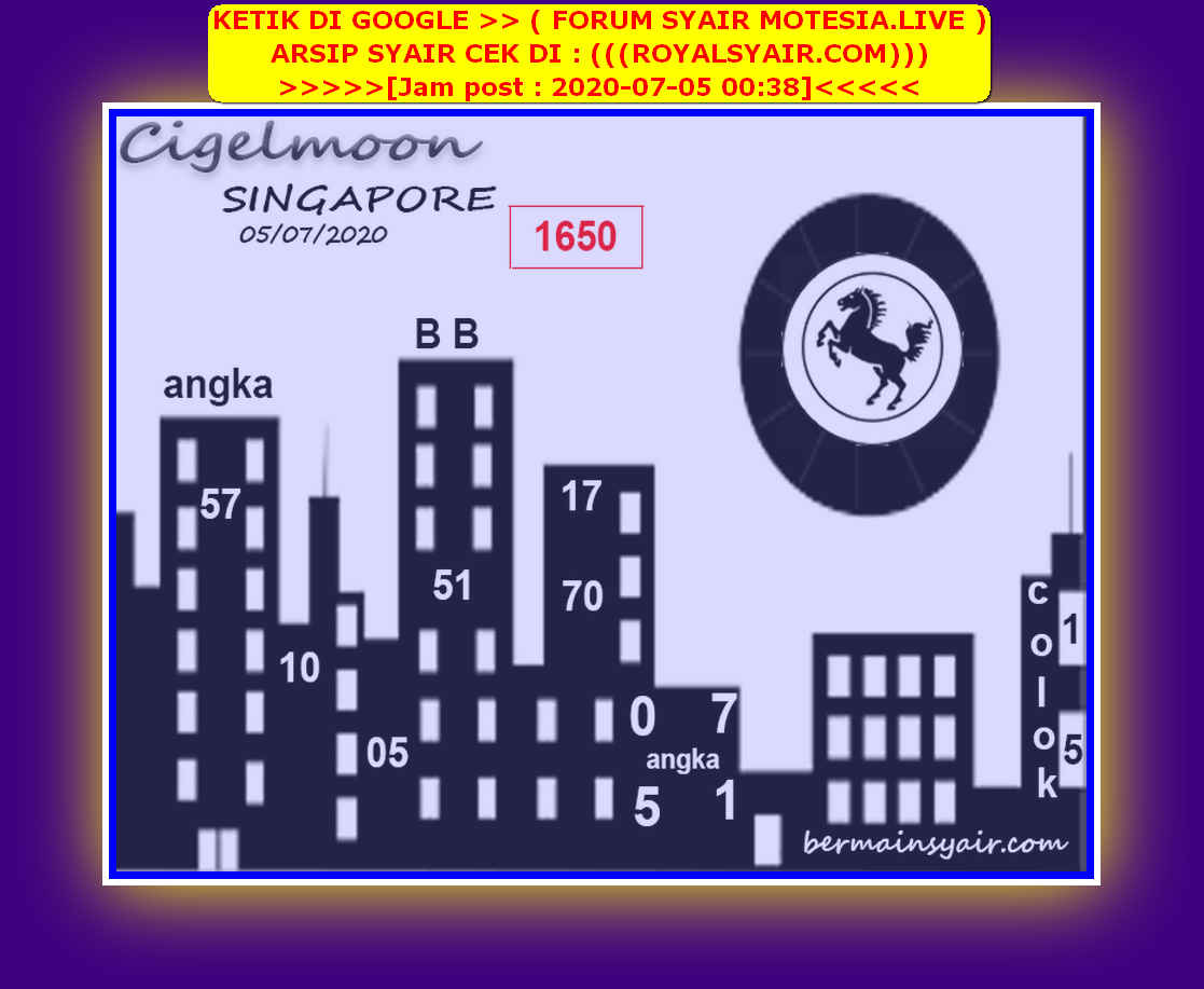 Kode syair Singapore Minggu 5 Juli 2020 212