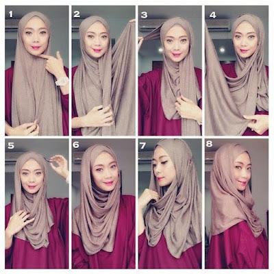 tutorial hijab pashmina kusut