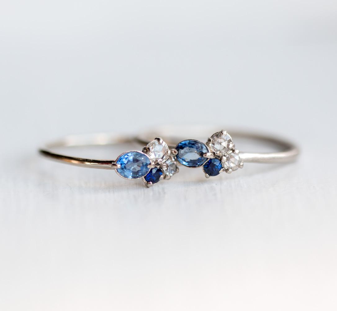 Blue Topaz Wedding Ring 78 Stunning Sapphire and white diamond