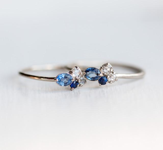 Sapphire and white diamond mini cluster rings in 14k white gold, bright polish vs. brushed matte finish.