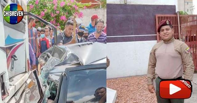 GNB se mató al chocarse contra un autobús mientras bebía alcohol junto a un amigo