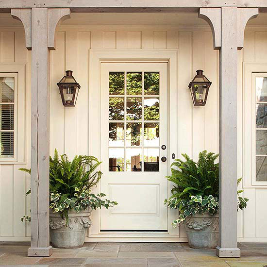white front door, front entrance, front door, farmhouse entrance