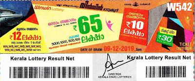 Kerala Lottery Result 09-12-2019 Win Win W-542