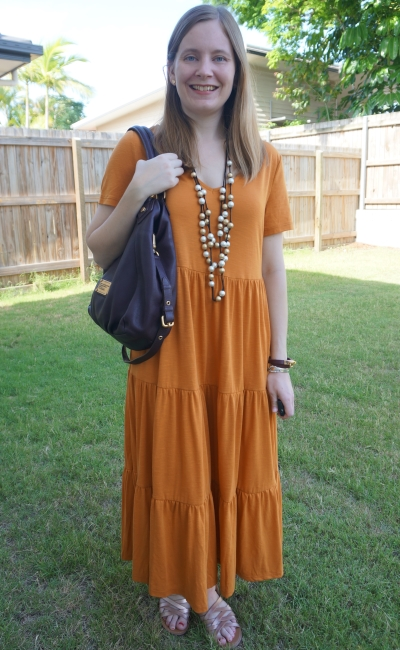 Kmart short sleeve tiered jersey midi dress in amber  with statement thrifted necklace and Marc Jacobs fran bag