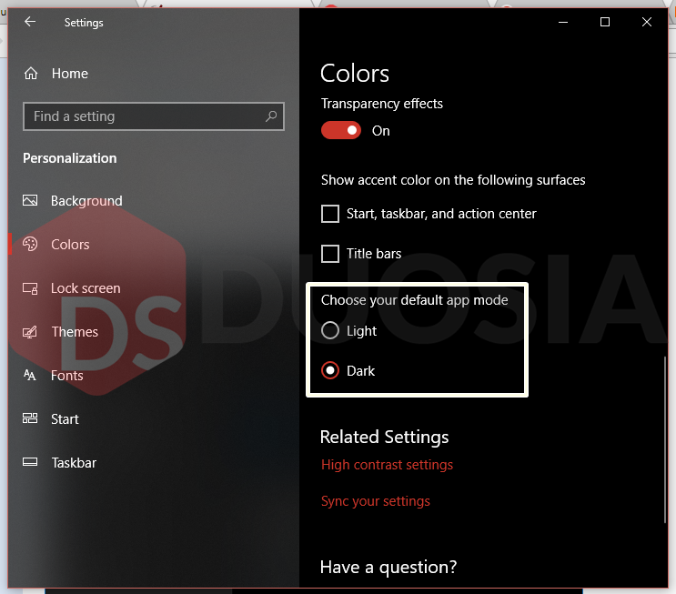 hasil dark mode windows 10