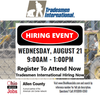 Tradesmen International will be on site interviewing for several positions.