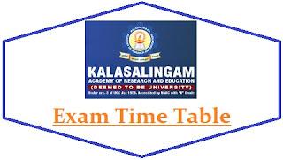 Kalasalingam University Exam Date Sheet 2021