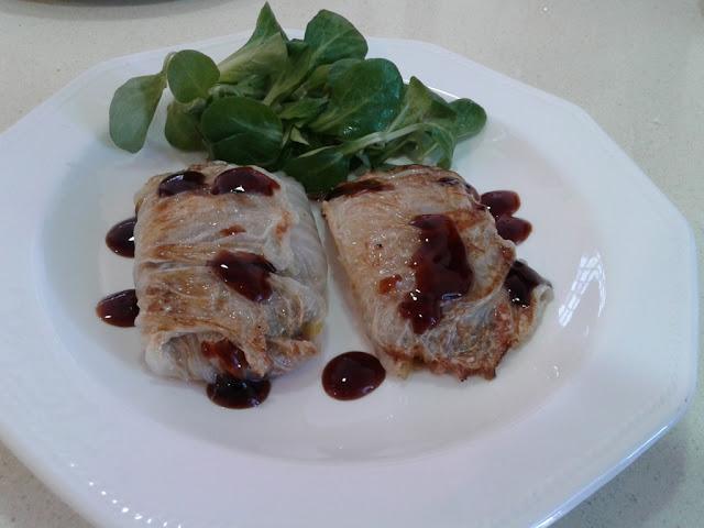 Col china rellena de carne y verduras