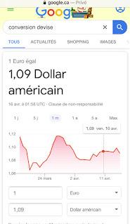 Convertisseur de monnaies sur Google France