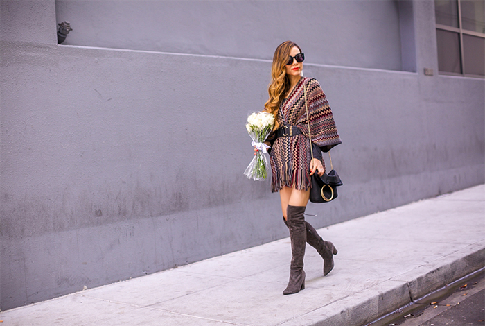 Sole Society KNIT MULTI STRIPE PONCHO, fall essential, otk boots, totes, karen walker sunglasses, tassel earrings, baublebar earrings, san francisco fashion blog, san francisco street style, how to wear poncho