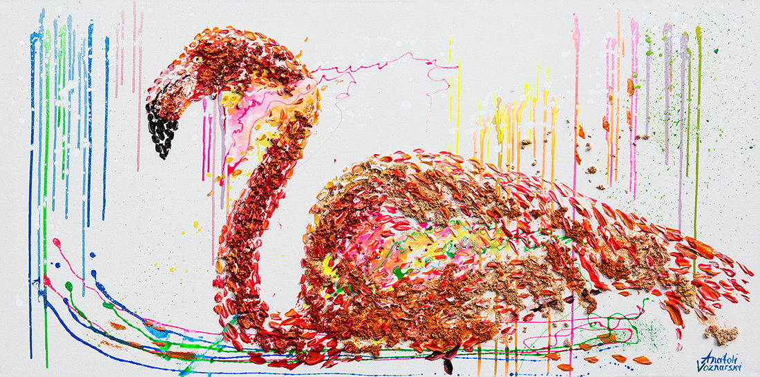 flamingo  acrylic painting, flamingo dot,heavy textured flamingo painting, mixed 3D flamingo art, unique jflamingo painting on canvas, anatoli flamingo, anatoli voznarski flamingo, thick laeyrs jflamingo painting, signature flamingo painting, animal painting