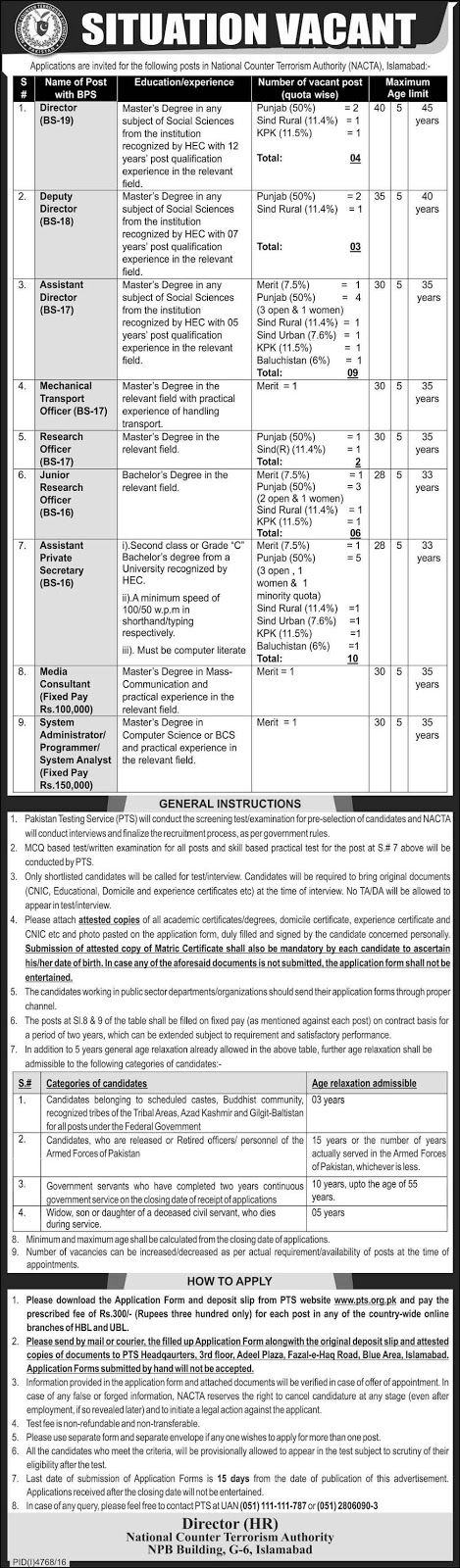National Counter Terrorism Authority Islamabad Govt Jobs