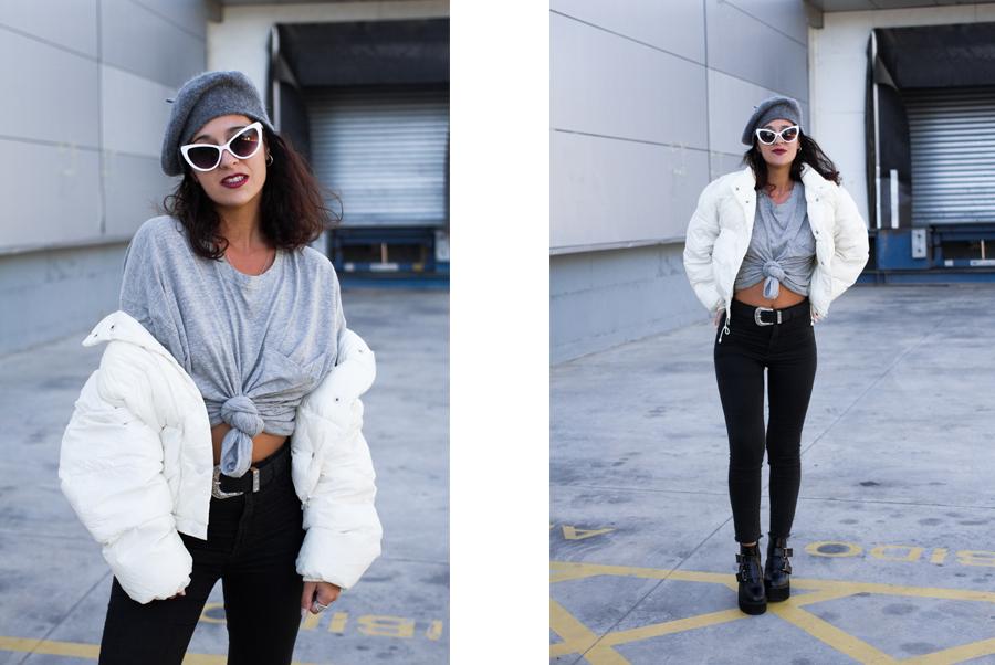 Maray Alvarez look con abrigo de plumas y boina gris