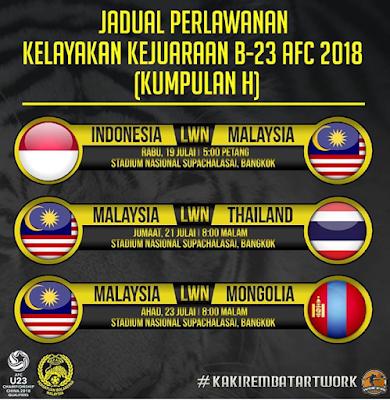 Live Streaming Malaysia vs Thailand Kelayakan AFC Bawah 23 2017