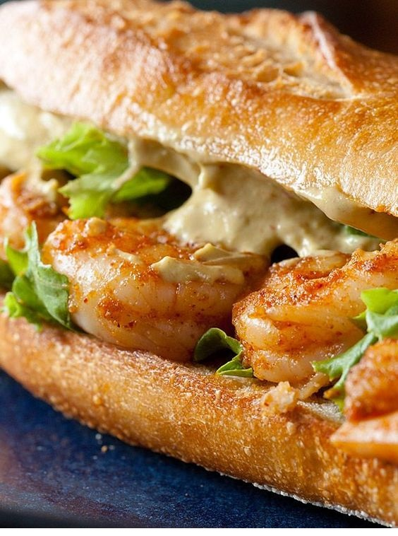 Spicy Shrimp Sandwich With Chipotle Avocado Mayonnaise Recipe