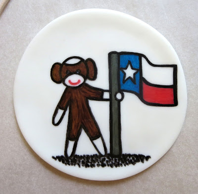 Sock Monkey Teacher Appreciation Cake - Close Up of Drawing of Sock Monkey with Texas Flag