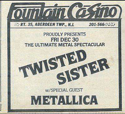 Fountain Casino ad from the Aquarian for the show in the pic above when Metallica opened up for our local hero's on December 30, 1983. Too fuckin' cool!!