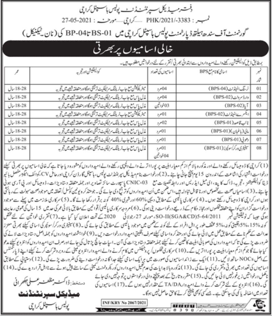 Jobs in Sindh Health Department 2021 | Police Hospital Karachi