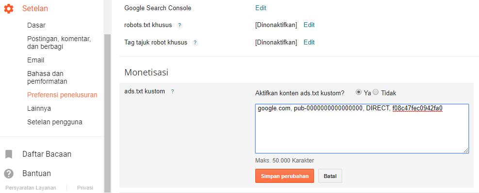 Mengaktifkan Ads.txt Google AdSense di Blog