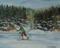 Skieur de fond sur un lac gelé près du rivage d'une forêt, huile 8 x 10 par Clémence St-Laurent