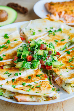 Chipotle Lime Salmon and Avocado Salsa Quesadillas