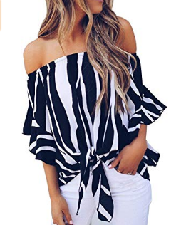 AMAZON - 50%Off  Striped Off Shoulder Boat Neck Bell Sleeve Shirt Tie Knot Casual Blouses Tops