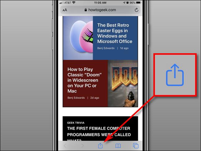 زر مشاركة الشريط في Safari على iPhone