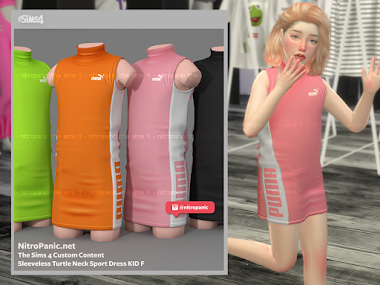 Sleeveless Turtle Neck Sport Dress KID F for The Sims 4