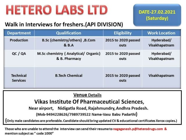 Hetero Labs   Walk-in interview for Freshers on 27th feb 2021
