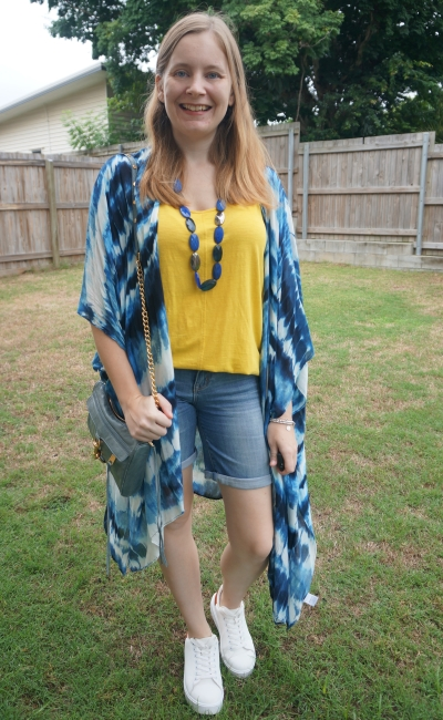 navy tie dye kimono, complimenting accessories, shorts and mustard tank | away from blue