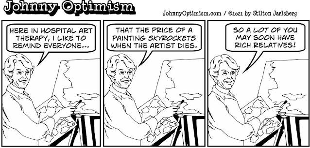 johnny optimism, medical, humor, sick, jokes, boy, wheelchair, doctors, hospital, stilton jarlsberg, art therapy, paintings, price, dead artist