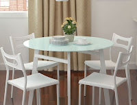 White dining table for 4 people