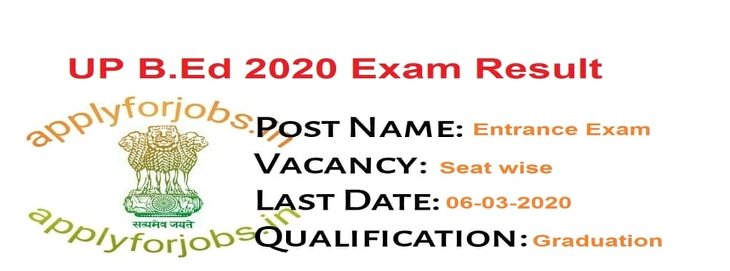 UP BEd 2020 Entrance Exam Result, applyforjobs.in