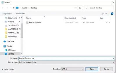 Memperbaiki file explorer melalui batch file