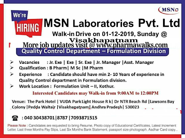 MSN Laboratories walk-in interview for Quality Control (Formulation Division) on 1st Dec' 2019 @ Visakhapatnam