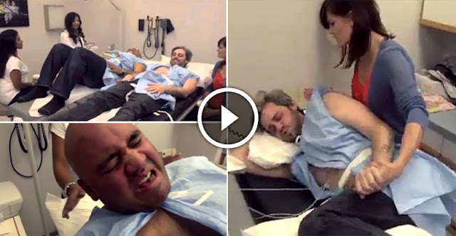 These Men Want To Feel The Pain Of Childbirth, And Are Subjected To A Simulator Of Deliveries!