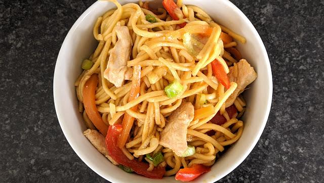 recette, nouilles, pâtes, fait maison, lo mein, recette chinoise, poulet