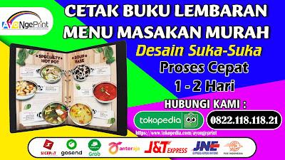Cetak Lembaran Buku Daftar Menu Masakan di Bojongsoang, Bandung