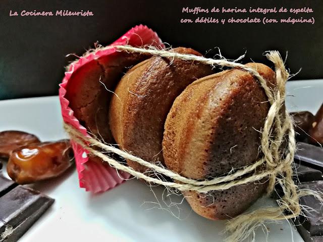 Muffins De Harina Integral De Espelta Con Dátiles Y Chocolate (con Máquina)