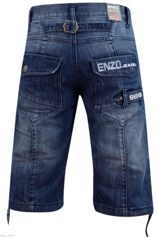 MENS BIG SIZE ENZO FASHION JEANS GREAT DETAIL STYLE EZ 244 DARK BLUE DENIM
