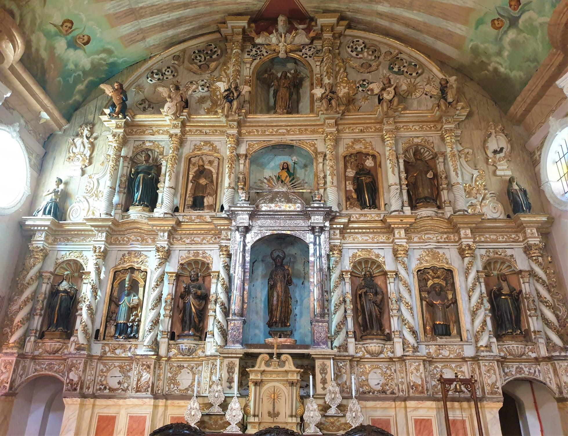 Retablo Mayor or Main Altar of the church Parish Church of Santiago Apostol also known as Betis Church in Guagua, Pampanga