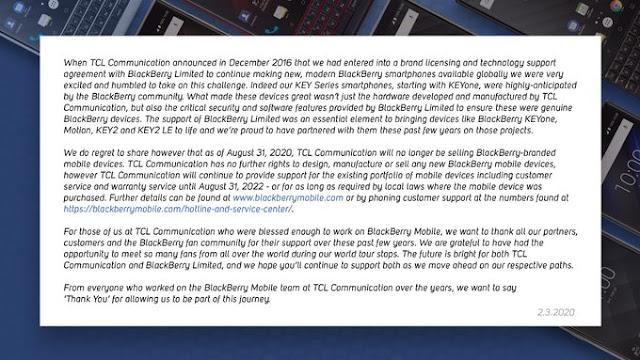 TCL Berhenti Membuat Ponsel BlackBerry
