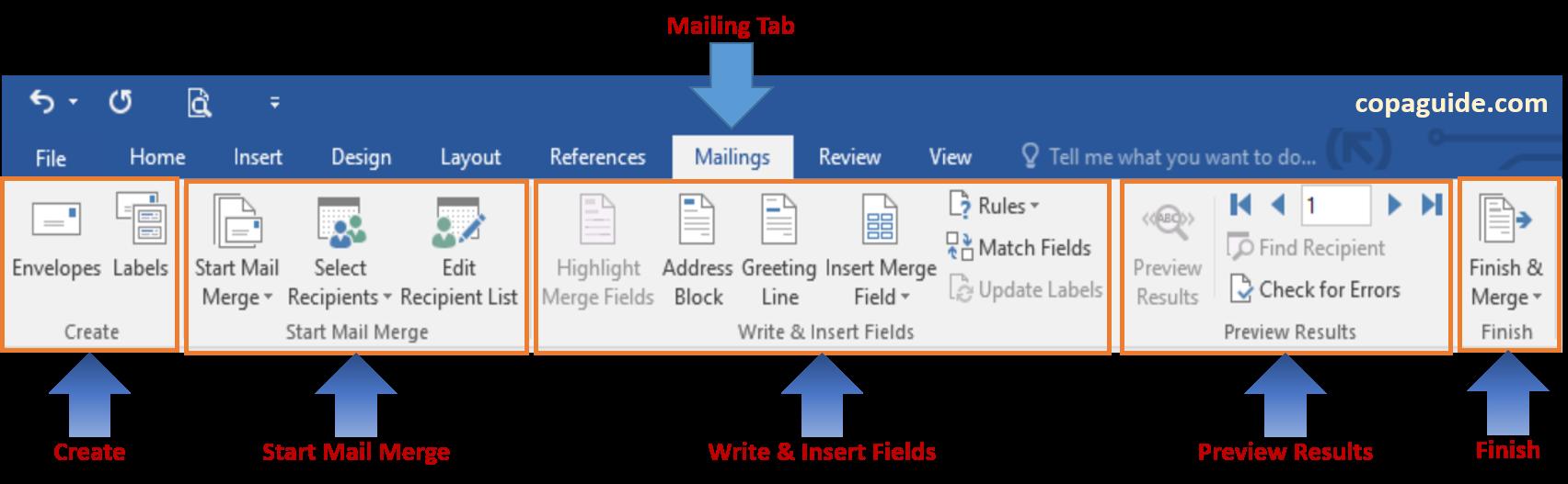 Microsoft Word - Using Mailing Tab