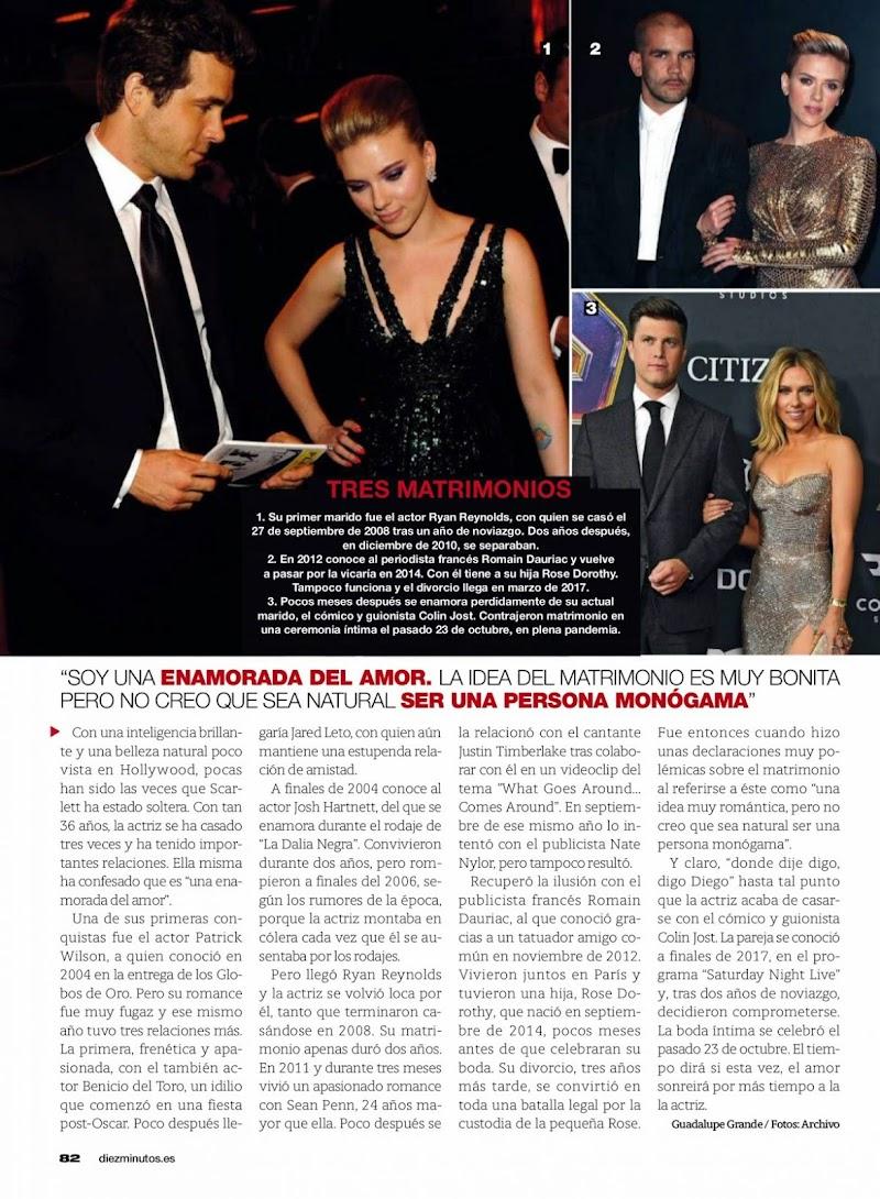 Scarlett Johansson Featured in Diez Minutos Magazine -  Spain November 2020