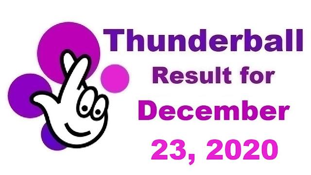 Thunderball Results for Wednesday, December 23, 2020